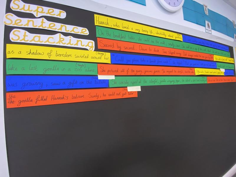 The 'Sentence Stacking Wall' is where we celebrate pupil's success