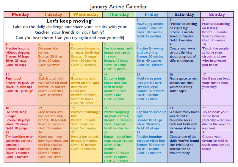 Have a look at the activities each day to complete to keep you active!