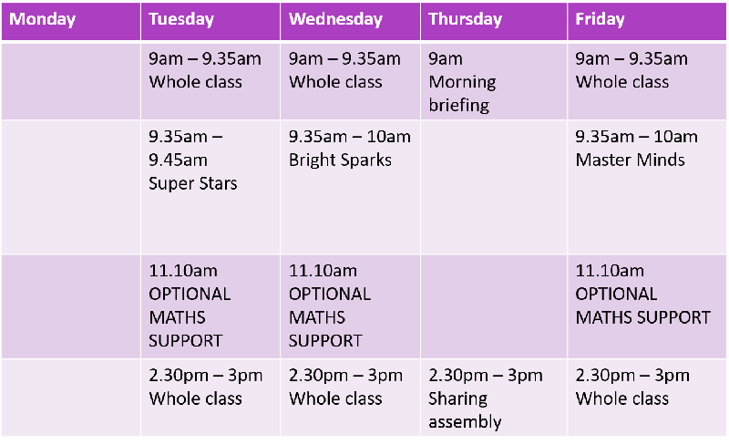 Teams Timetable for the week