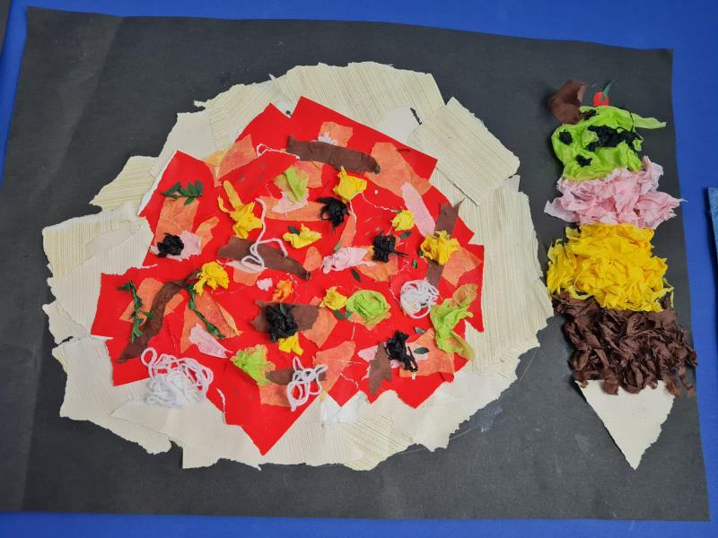 The children is school couldn't cook so instead made a pizza collage!