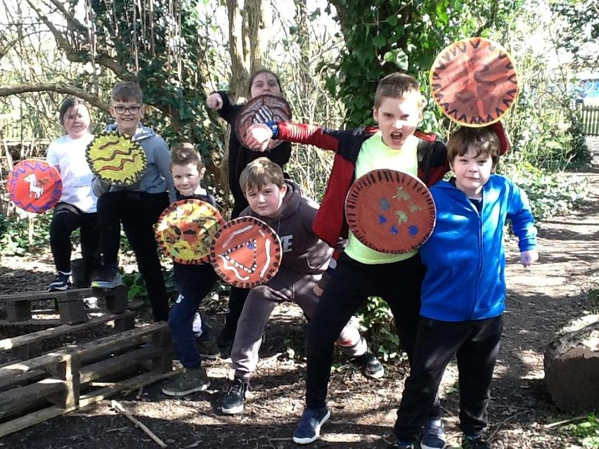 Making shields at Forest School