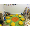 A cosy carpet area for story time.