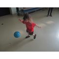 We have been learning how to kick a ball