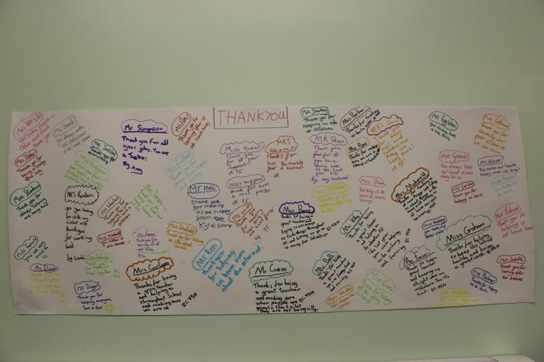 Thank you messages to all staff