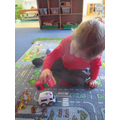 Ruby enjoyed playing with the cars and car mat.