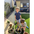 Sid and family doing some gardening