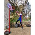 Jamie working on his basketball skills