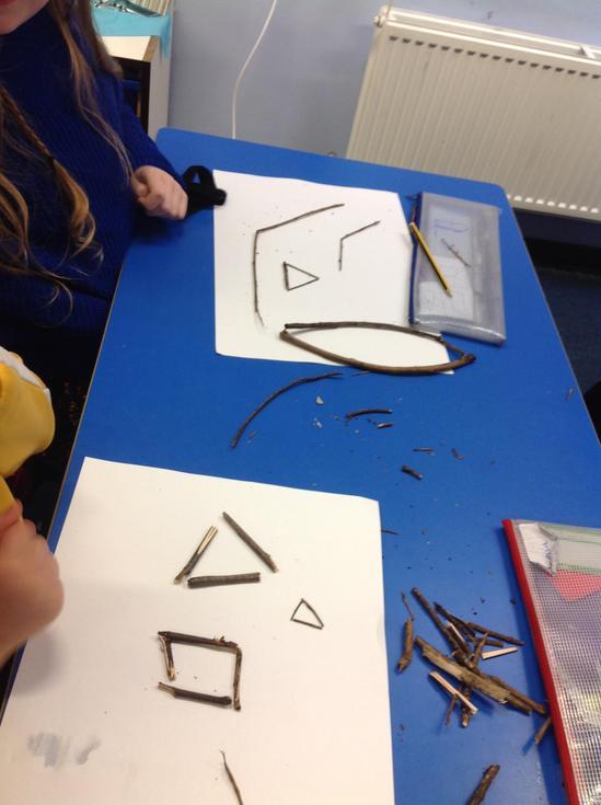 Pasha and Larissa made regular shapes and obtuse angles.