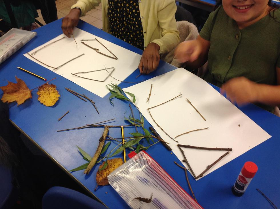 Italia and Zoe loved using the sticks to make shapes.