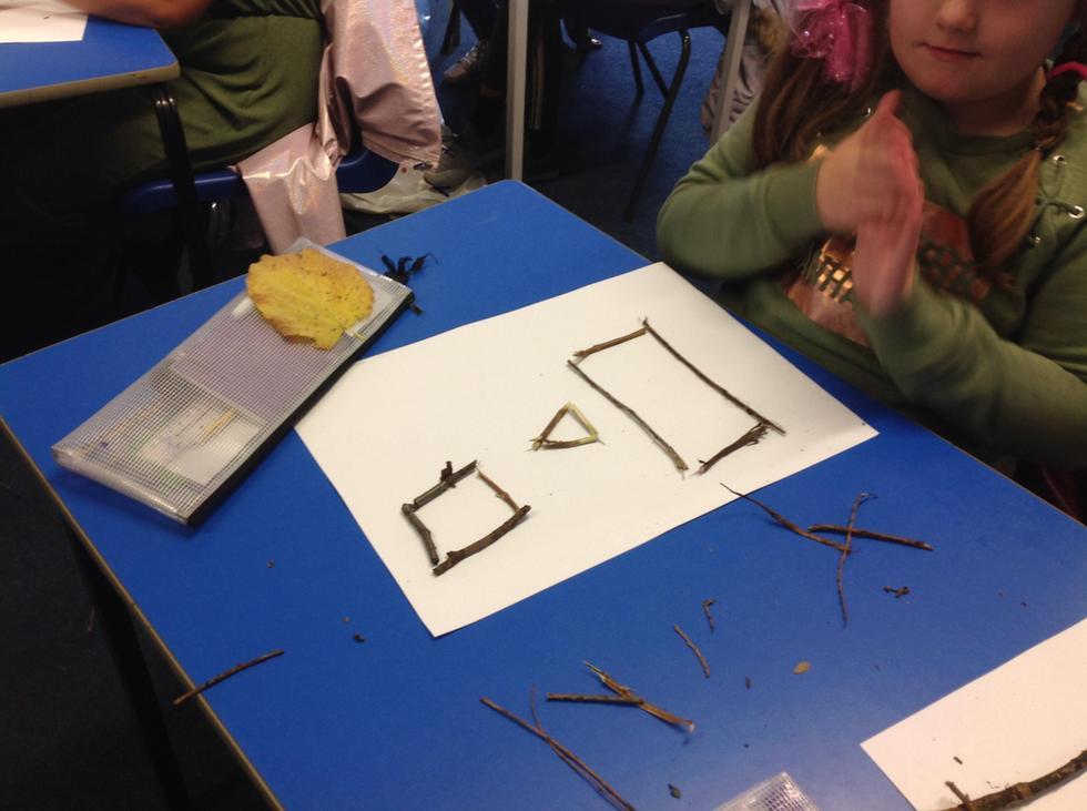 """My equilateral triangle is a regular shape."" said Skyla."
