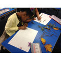 Some children drew shapes onto the paper.