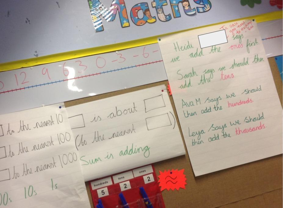 Our ever-changing maths working wall helps us remember what we've learned.