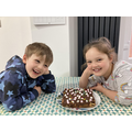 Harry and Elizabeth's chocolate rocky road biscuit cake!