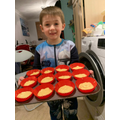 Pheonix making his cupcakes!