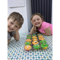 Harry and Elizabeth with funny face cakes!