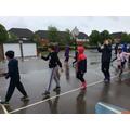 A river dance in the rain!