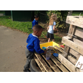 The mud kitchen is lots of fun - dig dig dig!