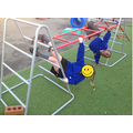 Practising our balancing skills and strengthening our gross motor muscles!