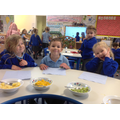 We described the textures, tastes, smells and looks using our senses.