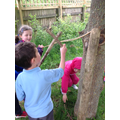Collecting wood for our Motte and Bailey Castle