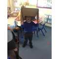 This box was too big to be a robot head! We decided it could be a Sombero hat instead!