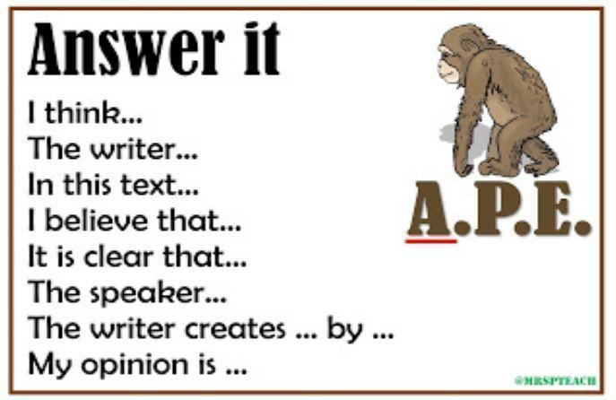 A - ANSWER (use these sentence starters to help you answer the question)