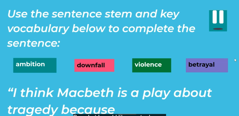 Use the sentence stem and key vocabulary to write complex sentences.