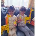 Jana and Maya made some fantastic giraffes.