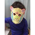 Benjamin wearing a tiger mask