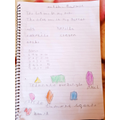 Halima's outstanding writing, drawing and maths.
