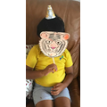 Yug made a fantastic tiger mask.