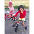 Raksana and her brother keeping fit on their bikes