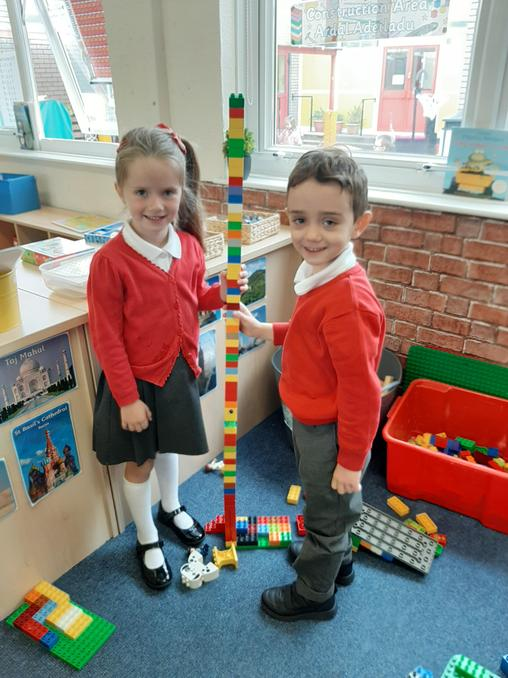 Our tower is taller than us!