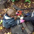 Learning to use a bow saw safely