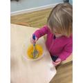 Mashing the pumpkin