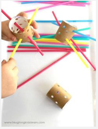 Threading- Tread straws through hole punch rolls