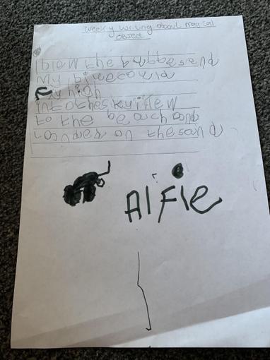 Alfie's Bubble writing - Reception
