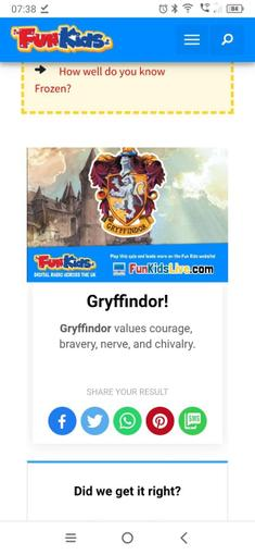 Holly has been sorted into Gryffindor house!