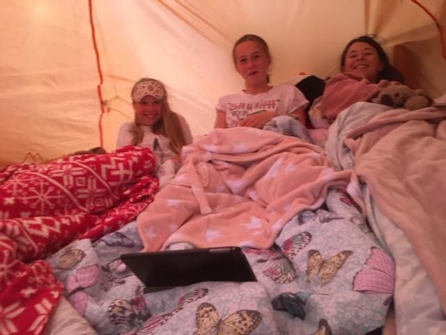 She also had a camp out with her sisters!