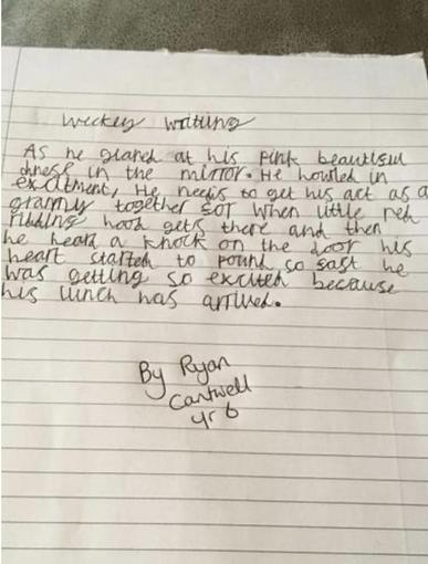 Ryan's writing - Year 6