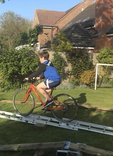 Zack practising his bike skills