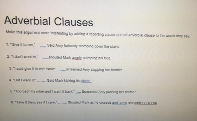 Sophia's Adverbial clauses