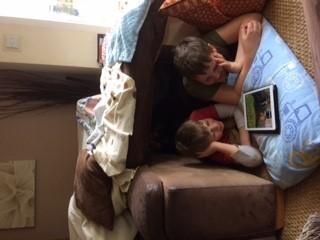 Joss and Devon den making