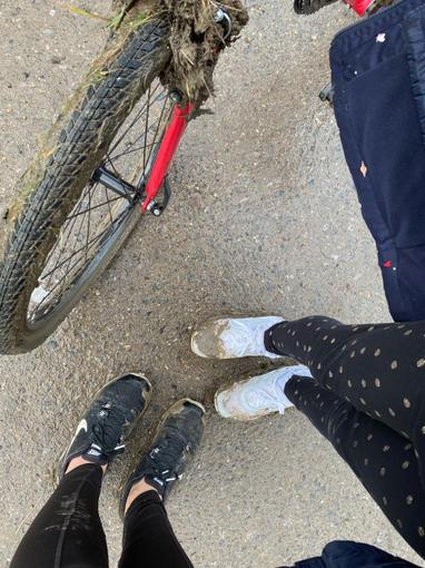 Molly has been for a muddy bike ride for PE today...