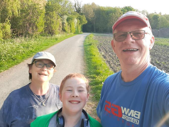 Ben enjoying a walk with his family