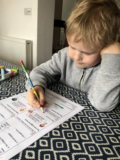 Ollie working on past and present tense