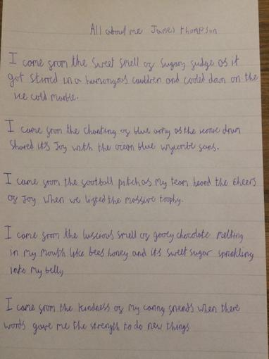 James' writing- Year 5