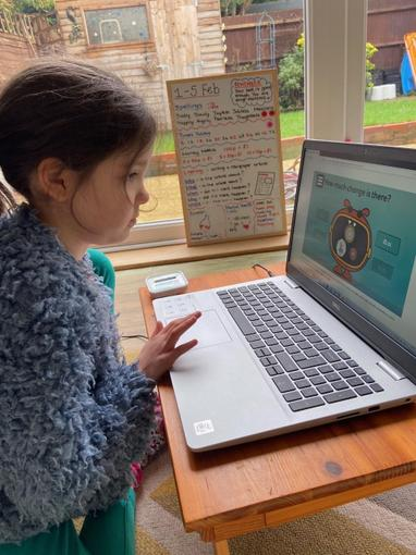 Isabelle working hard on her Maths this week...