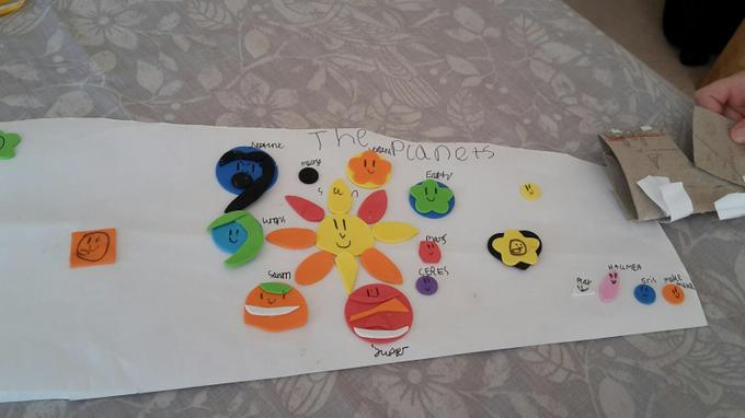 Niamh made a collage of the solar system