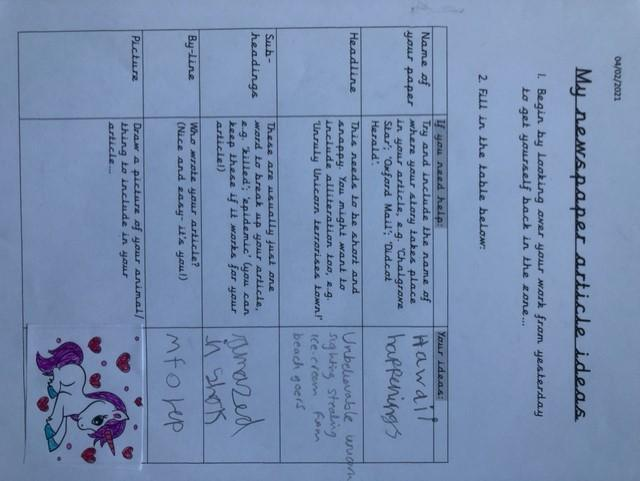 An example of some of Millie's high quality Literacy work from this week!